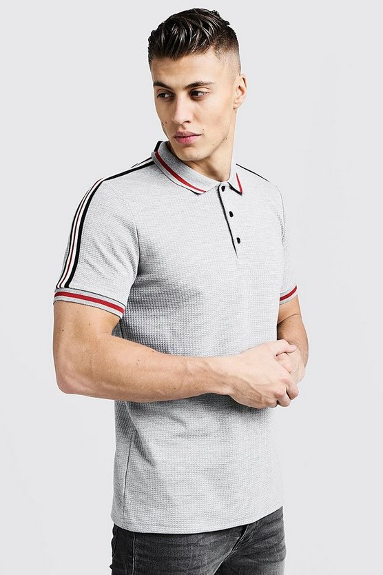 Mens Grey Jacquard Polo With Tape Detail