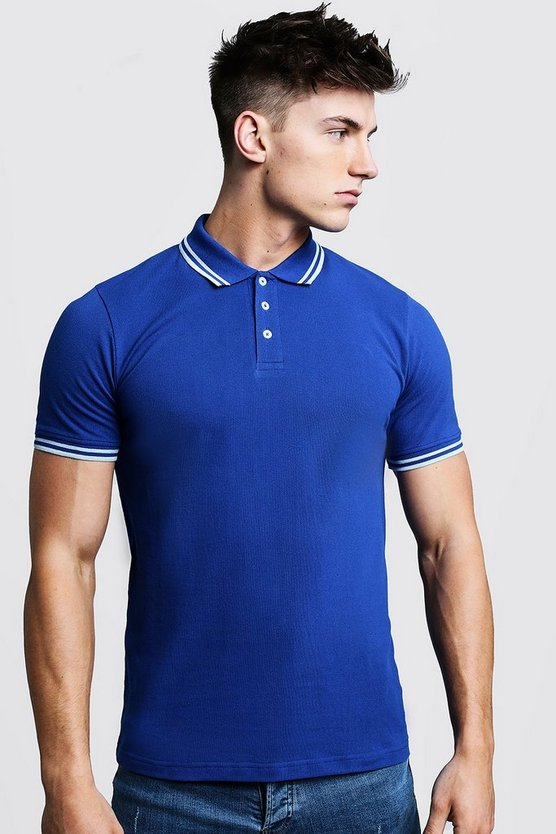 Mens Cobalt Slim Fit Pique Polo With Tipping