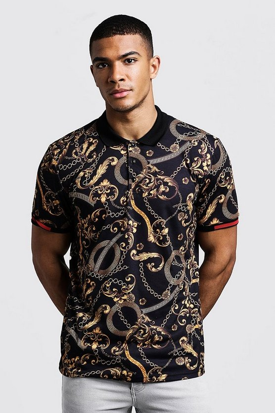 Mens Black Polo With Baroque Print & Sleeve Detail