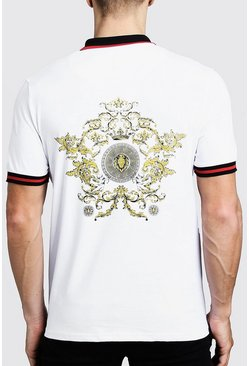 Mens White Polo T-Shirt With Baroque Back Print