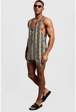 Mens Black Chain Stripe Vest & Swim Short Set