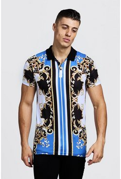 Mens Blue Baroque Stripe Print Short Sleeve Polo