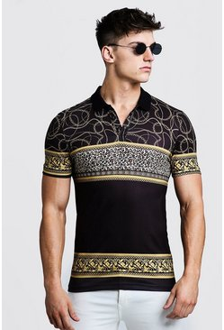 Mens Black Animal Chain Print Muscle Fit Polo