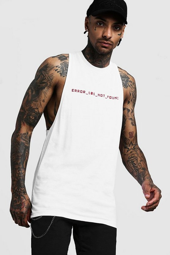 Mens White Longline Racer Vest With Front & Back Print