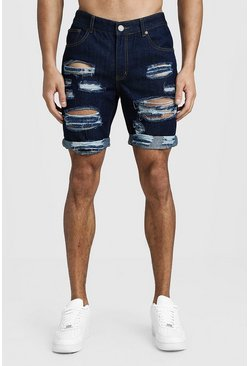 Short en denim coupe slim à revers aspect vieilli, Indigo, Homme