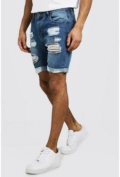 Mens Mid blue Slim Fit Distressed Turn-Up Denim Shorts