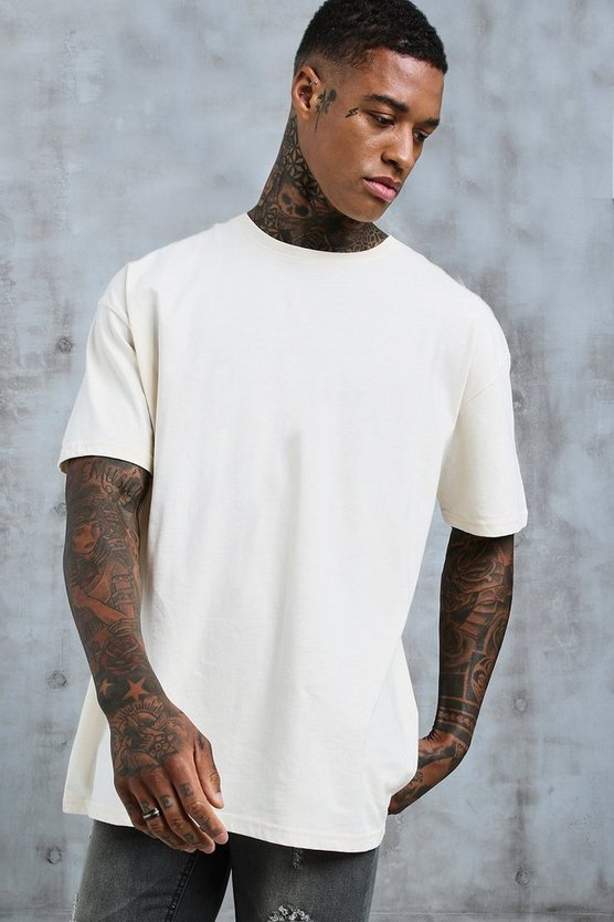 Mens Ecru Oversized Crew Neck T-Shirt