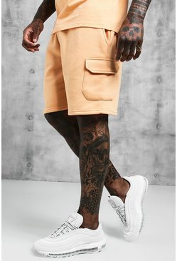 Mens Peach Mid Length Cargo Jersey Shorts
