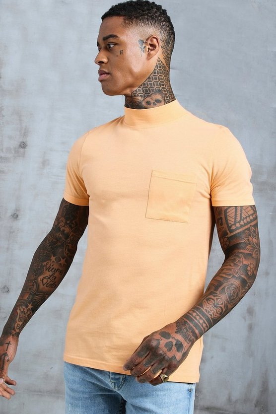 Mens Peach Muscle Fit T-Shirt With Extended Neck