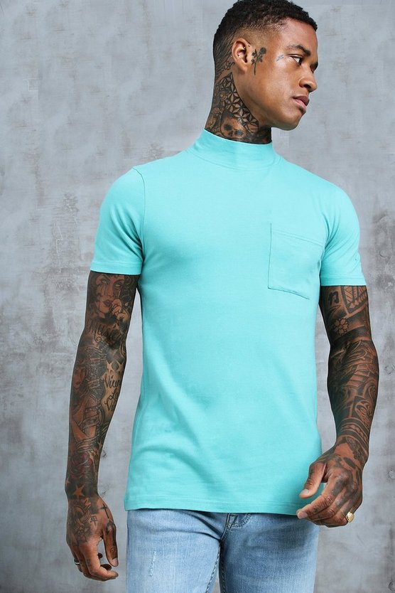 Mens Turquoise Muscle Fit T-Shirt With Extended Neck
