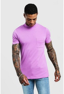 Violet Muscle Fit T-Shirt With Extended Neck