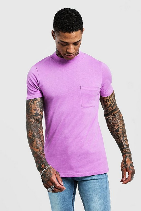 Mens Violet Muscle Fit T-Shirt With Extended Neck