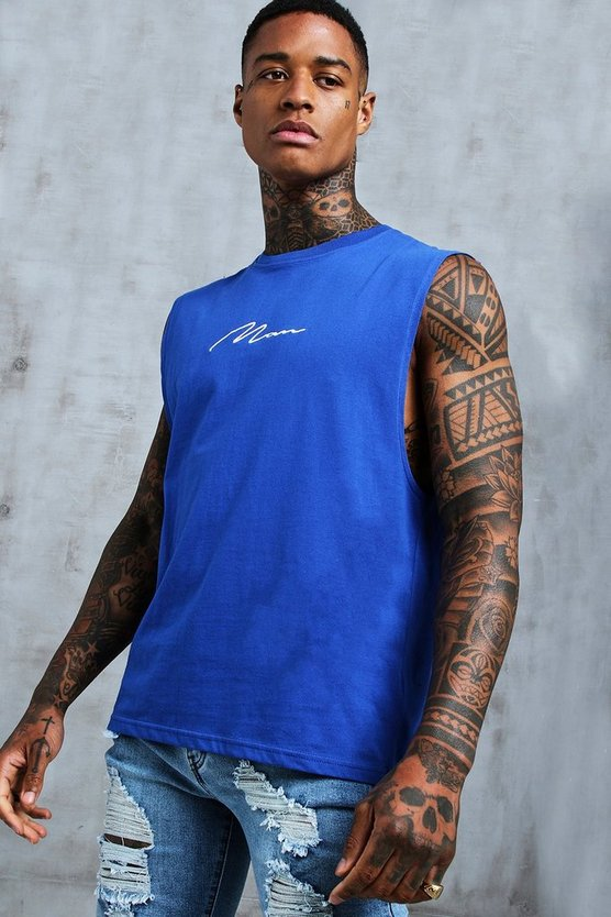Mens Cobalt MAN Signature Drop Armhole Tank