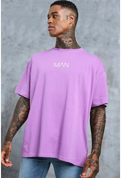 Mens Violet Oversized Original MAN Print T-Shirt