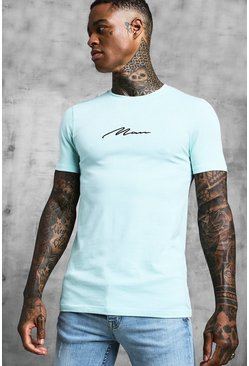 Mens Mint MAN Signature Embroidered Muscle Fit T-Shirt