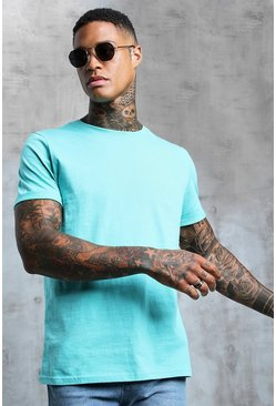 Mens Turquoise Crew Neck T-Shirt With Rolled Sleeves