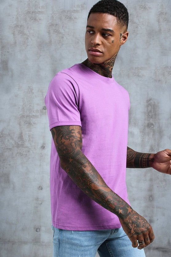 Mens Violet Crew Neck T-Shirt With Rolled Sleeves