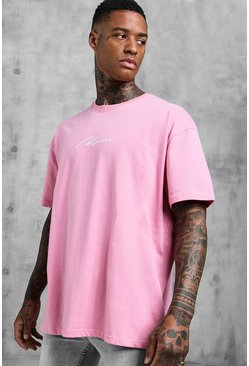 Mens Bubblegum Oversized MAN Signature Embroidered T-Shirt