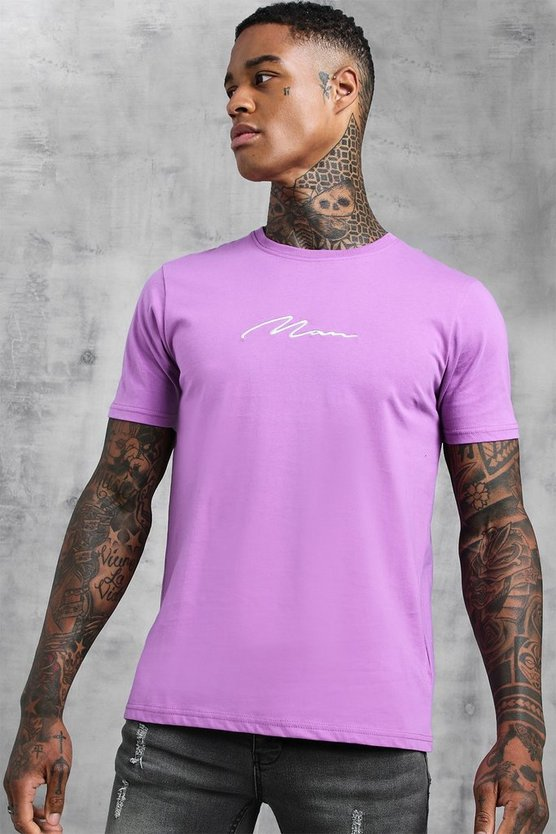 Mens Violet Man Signature Embroidered T-Shirt