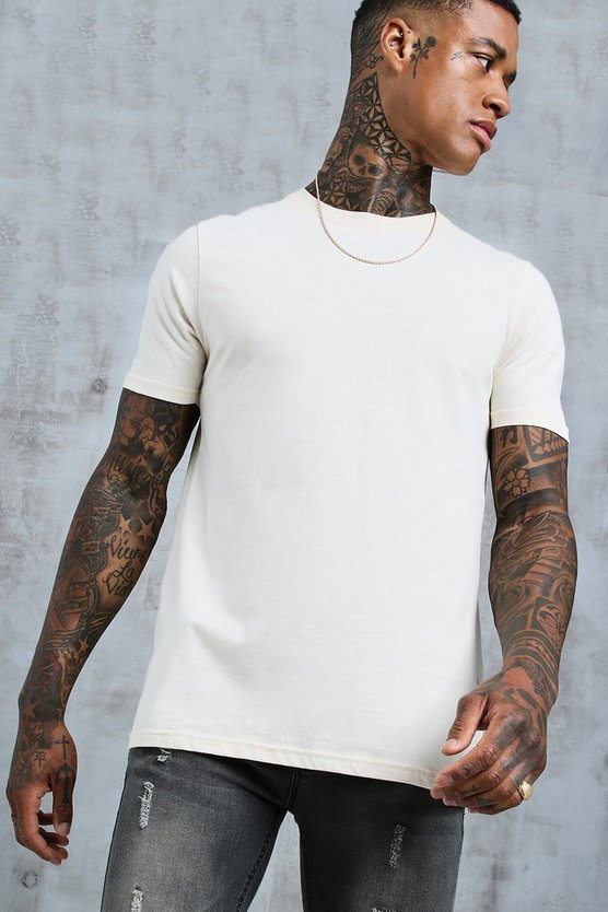 Mens Ecru Short Sleeve Longline T-Shirt With Curve Hem