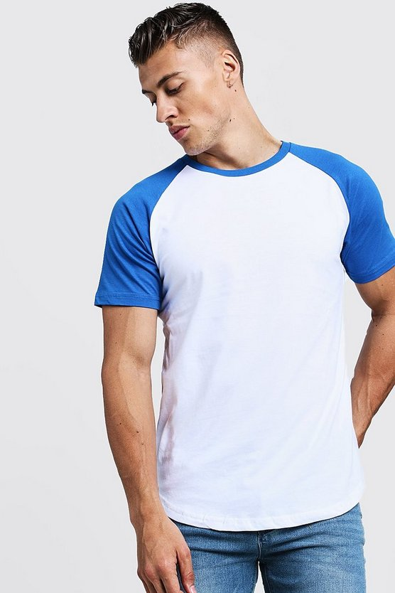 Mens Royal Short Sleeve Raglan Contrast T-Shirt