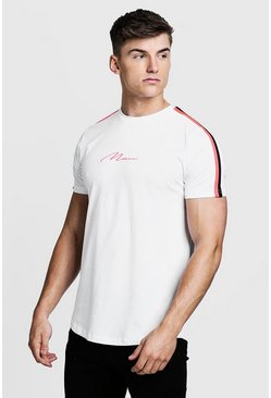 Mens White MAN Signature Curved Hem T-Shirt With Neon Tape
