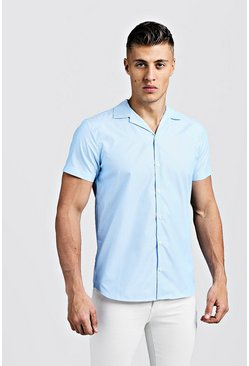 Mens Blue Short Sleeve Pinstripe Revere Shirt