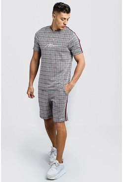 MAN Signature Ensemble T-shirt et Short à carreaux, Rouge, Homme