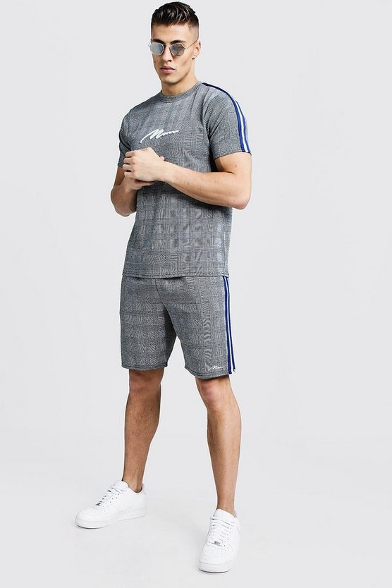Mens Grey MAN Signature Check T-Shirt & Short Set With Tape