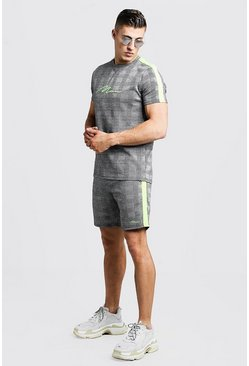 MAN Signature Ensemble T-shirt et Short à carreaux, Gris, Homme