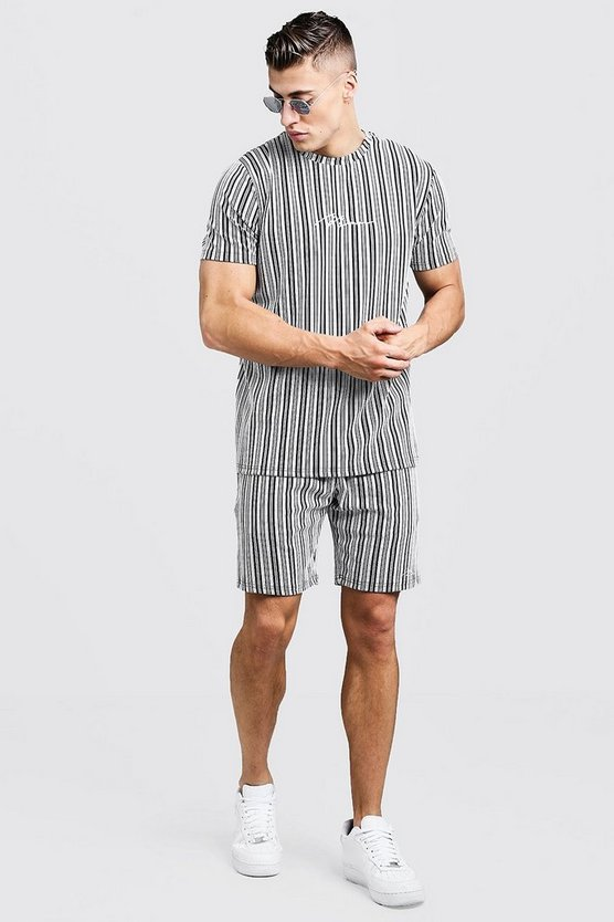 Mens Black MAN Signature Jaquard Stripe T-Shirt & Short Set