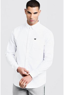 Chemise Oxford manches longues, Blanc, Homme
