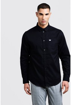 Mens Black Oxford Shirt In Long Sleeve