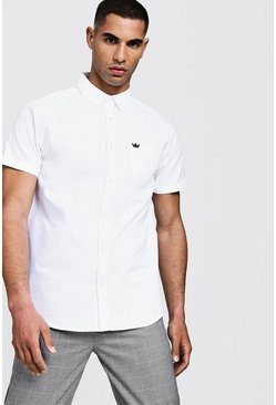 Chemise Oxford manches courtes, Blanc, Homme