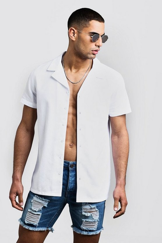 Mens White Honeycomb Texture Short Sleeve Shirt