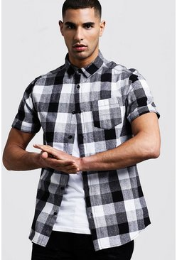 Mens Black Short Sleeve Check Shirt