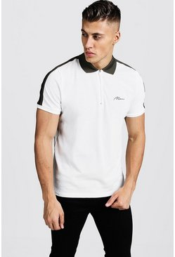 Mens Ecru Polo T-Shirt With Shoulder Tape