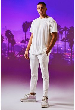 Man Signature Ensemble T-shirt et Jogging en velours, Blanc, Homme
