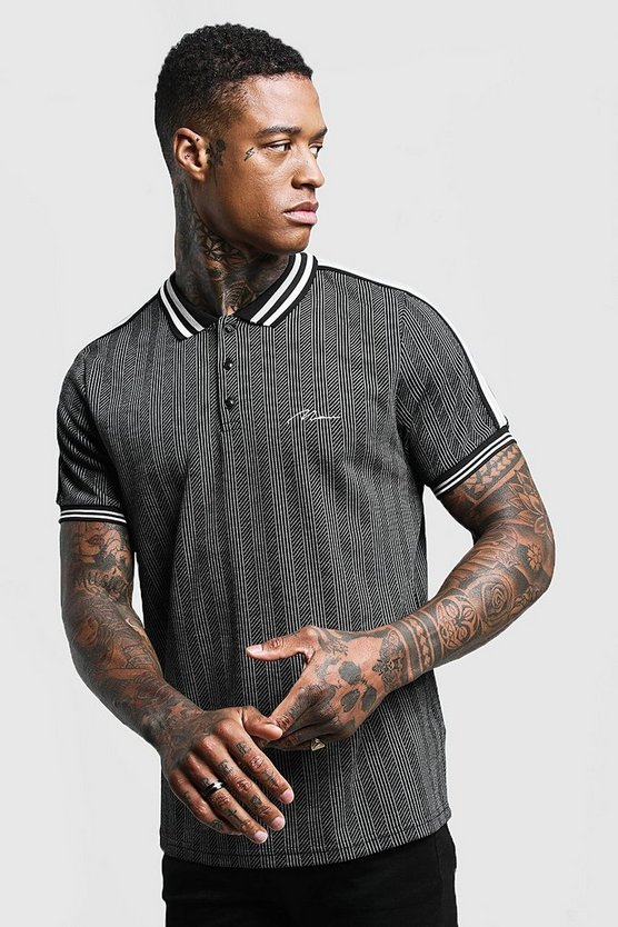 Mens Grey MAN Herringbone Polo With Tape Detail