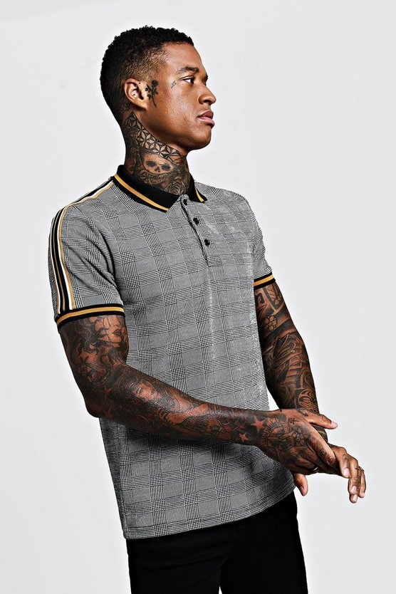 Mens Grey Slim Fit Check Polo With Tape Detail
