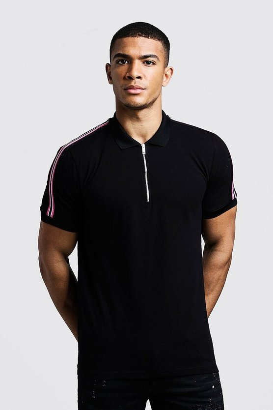 Mens Black Zip Through Polo With Shoulder Tape