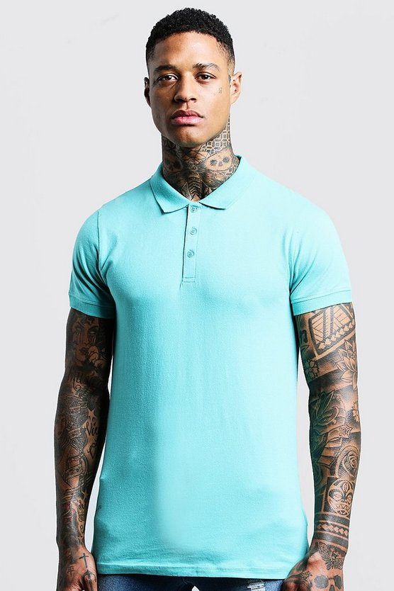 Mens Turquoise Short Sleeve Muscle Fit Polo
