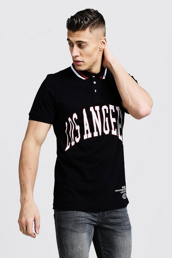 Mens Black Polo Shirt With Los Angeles Print