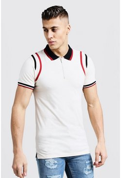 Mens Ecru MAN Zip Polo With Contrast Panel