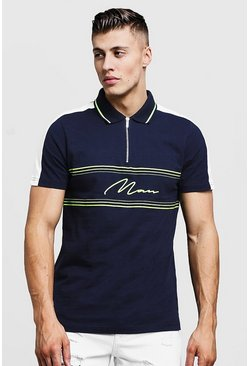 Mens Navy MAN Signature Zip Polo With Contrast Panels