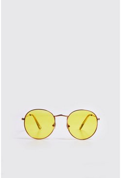 Mens Yellow Coloured Tint Round Sunglasses