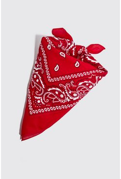 Mens Red Paisley Bandana