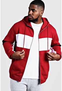 Big & Tall - Sweat à capuche zippé colour block, Rouge, HOMMES