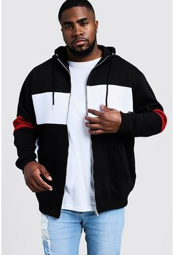 Mens Black Big & Tall Colour Block Zip Through Hoodie