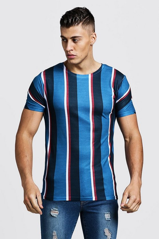 Mens Teal Vertical Stripe Muscle Fit T-Shirt